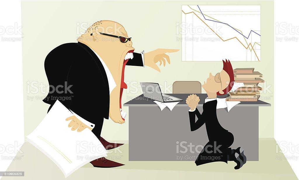Angry boss vector art illustration
