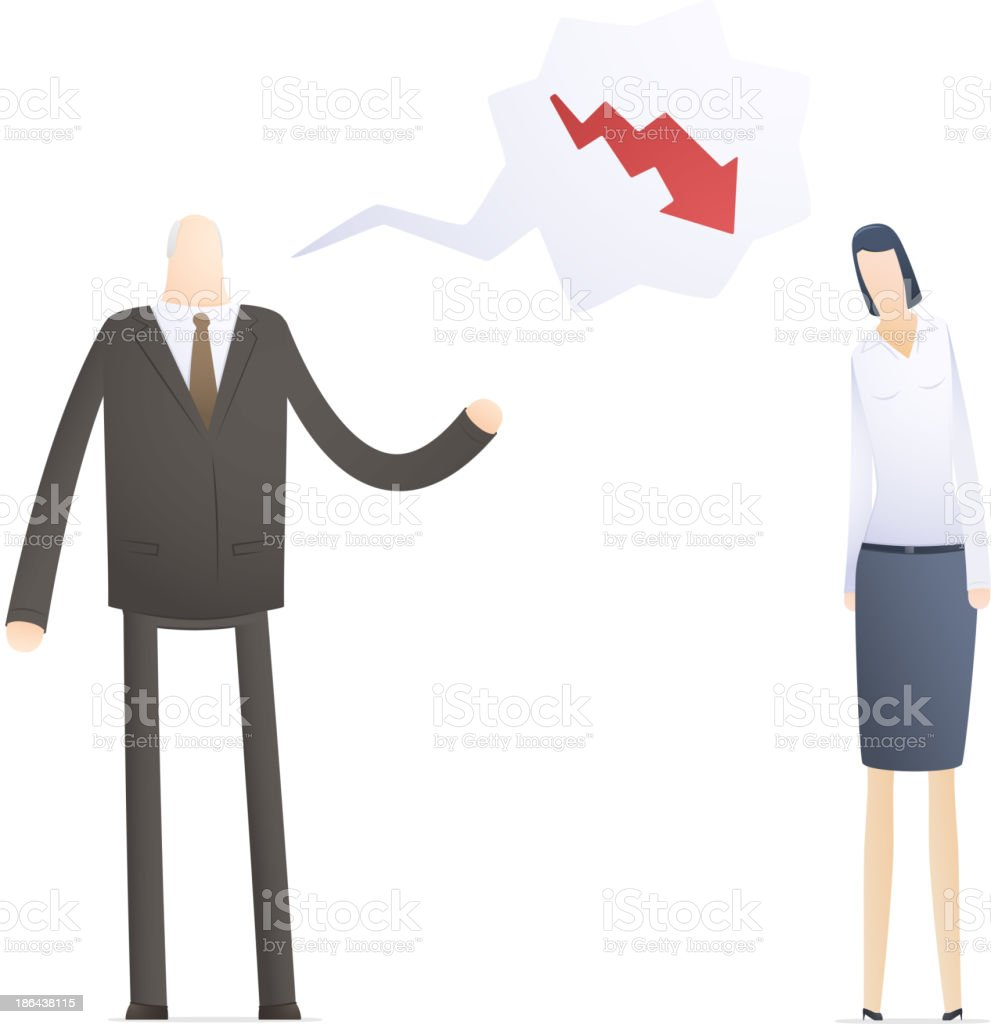 angry boss with employee royalty-free stock vector art