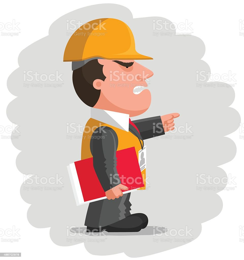 Angry boss with protective helmet and with red folder vector art illustration