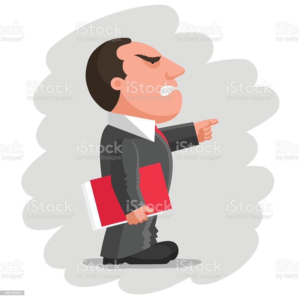 Angry boss with red document folder vector art illustration
