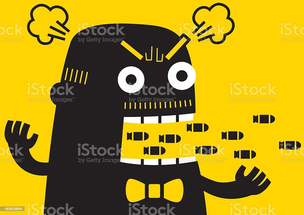 Angry Boss | Yellow Business Concept vector art illustration