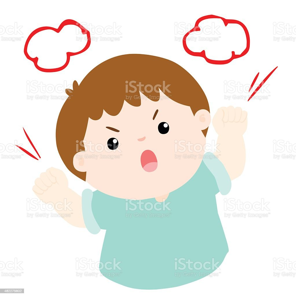 angry boy shout loudly on white background vector vector art illustration