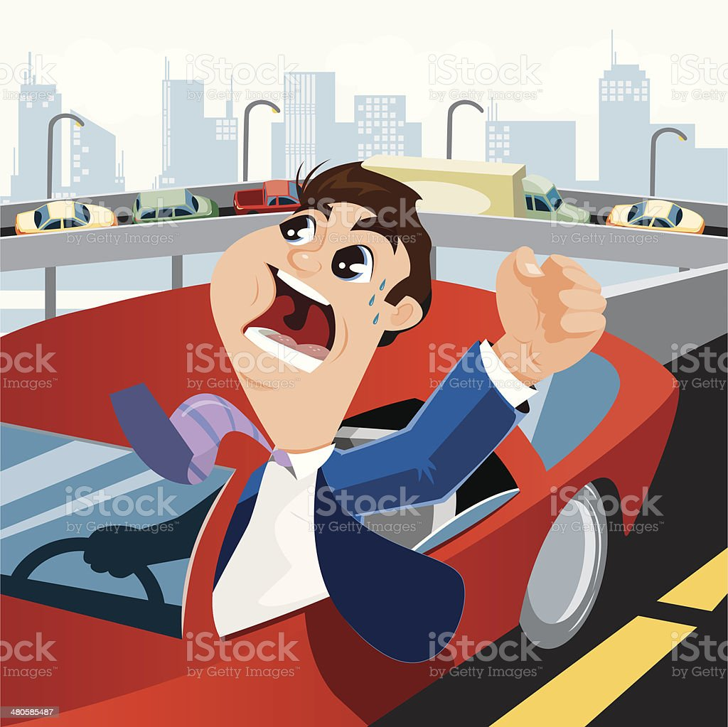 Angry Business Commuter vector art illustration