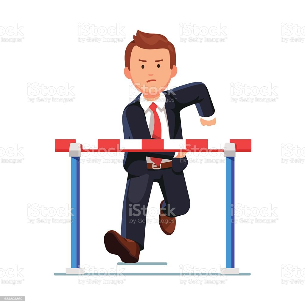 Angry business man running to a barrier obstacle vector art illustration