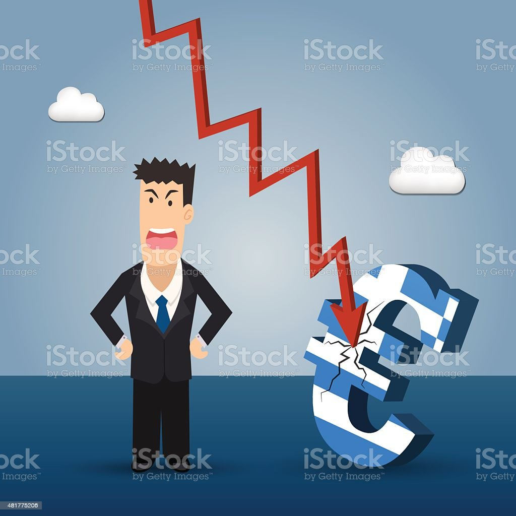 Angry business man with greek Euro symbolizing crisis on background vector art illustration