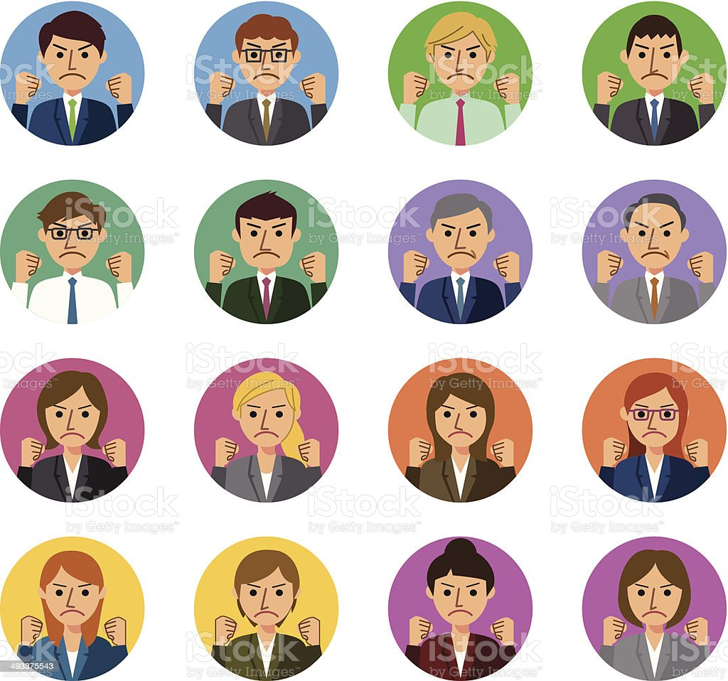 Angry business people vector art illustration
