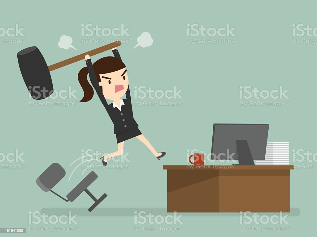angry business woman vector art illustration