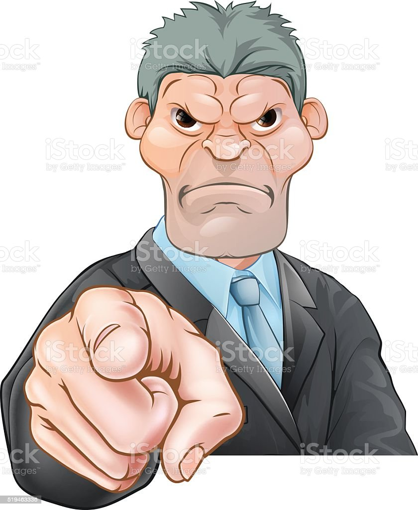Angry Businessman Pointing vector art illustration