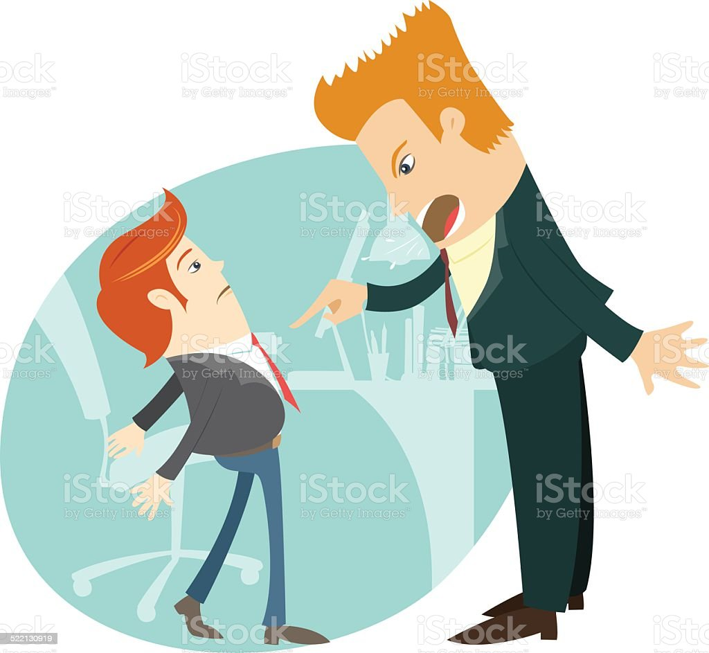 Angry businessman screaming and pointing on the manager vector art illustration