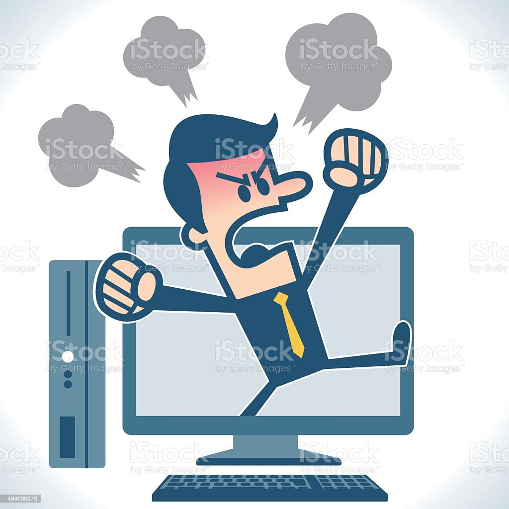 Angry Businessman talking vector art illustration