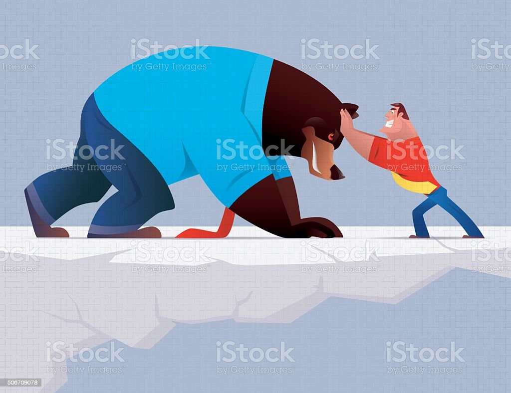 angry businessman versus bear vector art illustration