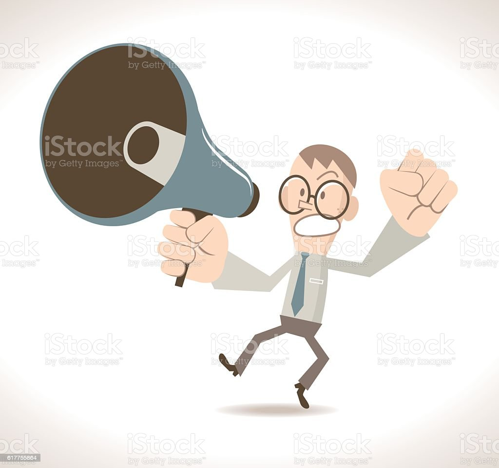 Angry businessman (teacher) with megaphone vector art illustration