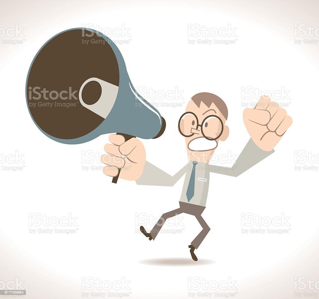 Angry businessman (teacher) with megaphone vector art illustration