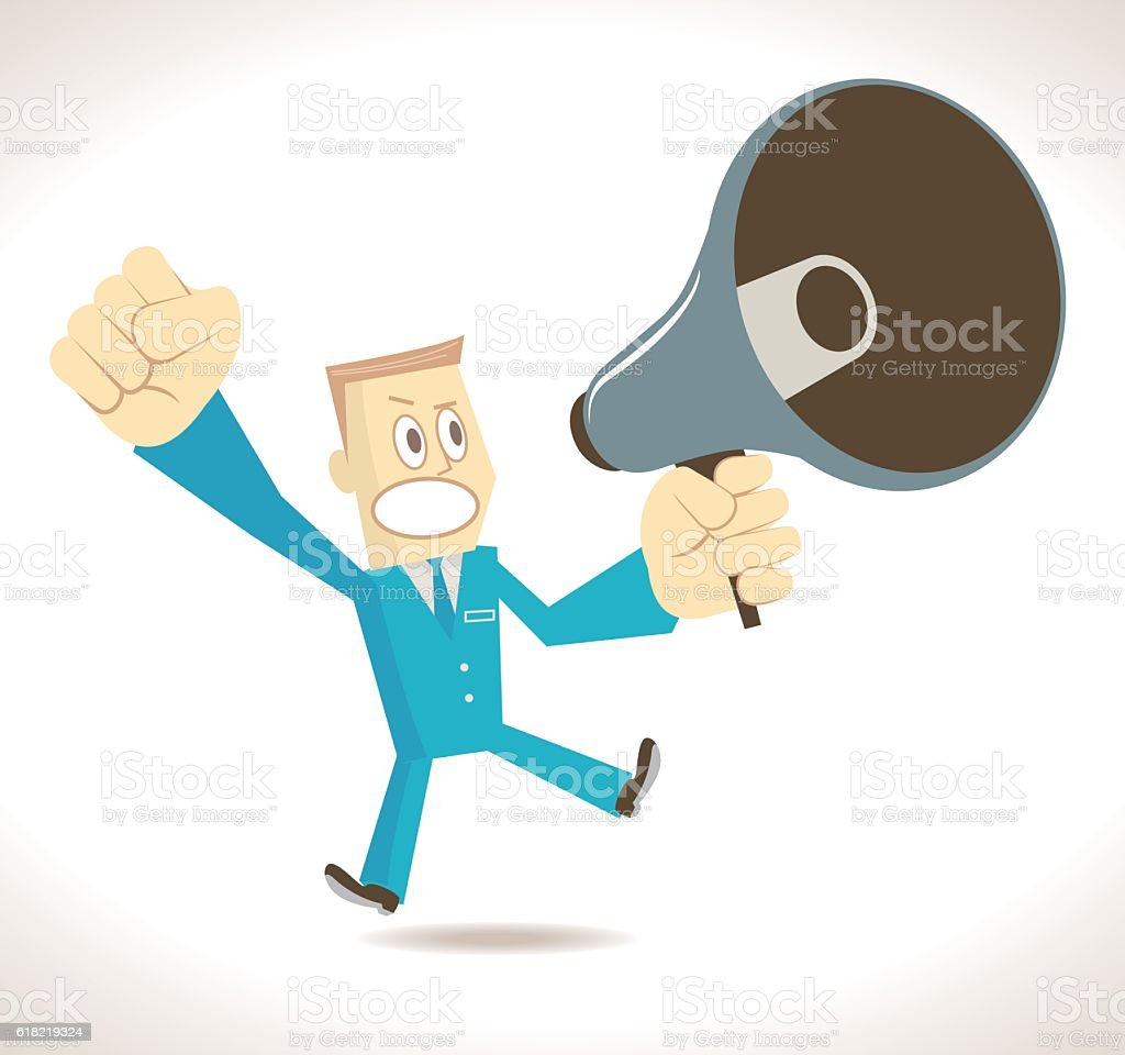 Angry businessman (politician, detective) with megaphone vector art illustration