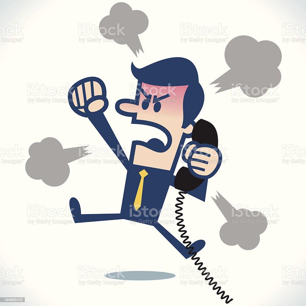 Angry caller vector art illustration