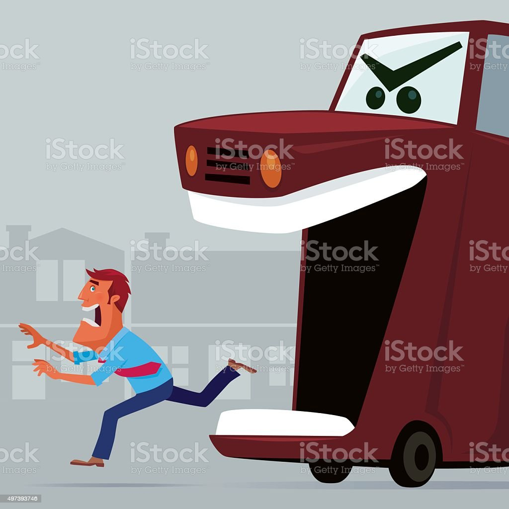 angry car vector art illustration
