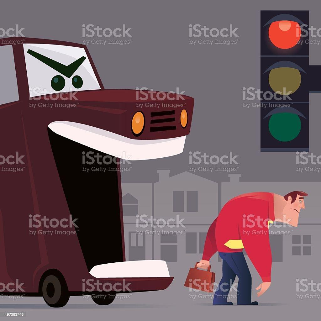 angry car vector art illustration