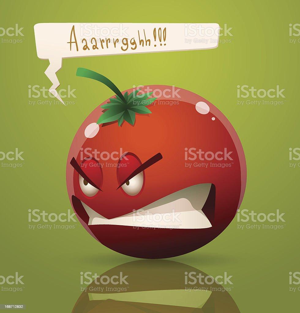 Angry cartoon tomato royalty-free stock vector art