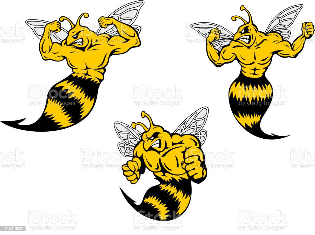 Angry cartoon wasp or hornets with a sting vector art illustration