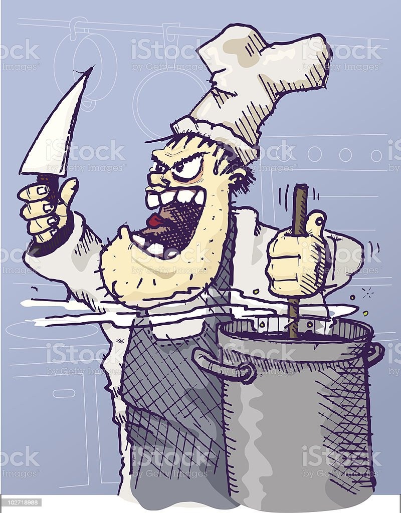 Angry chef with knife vector art illustration