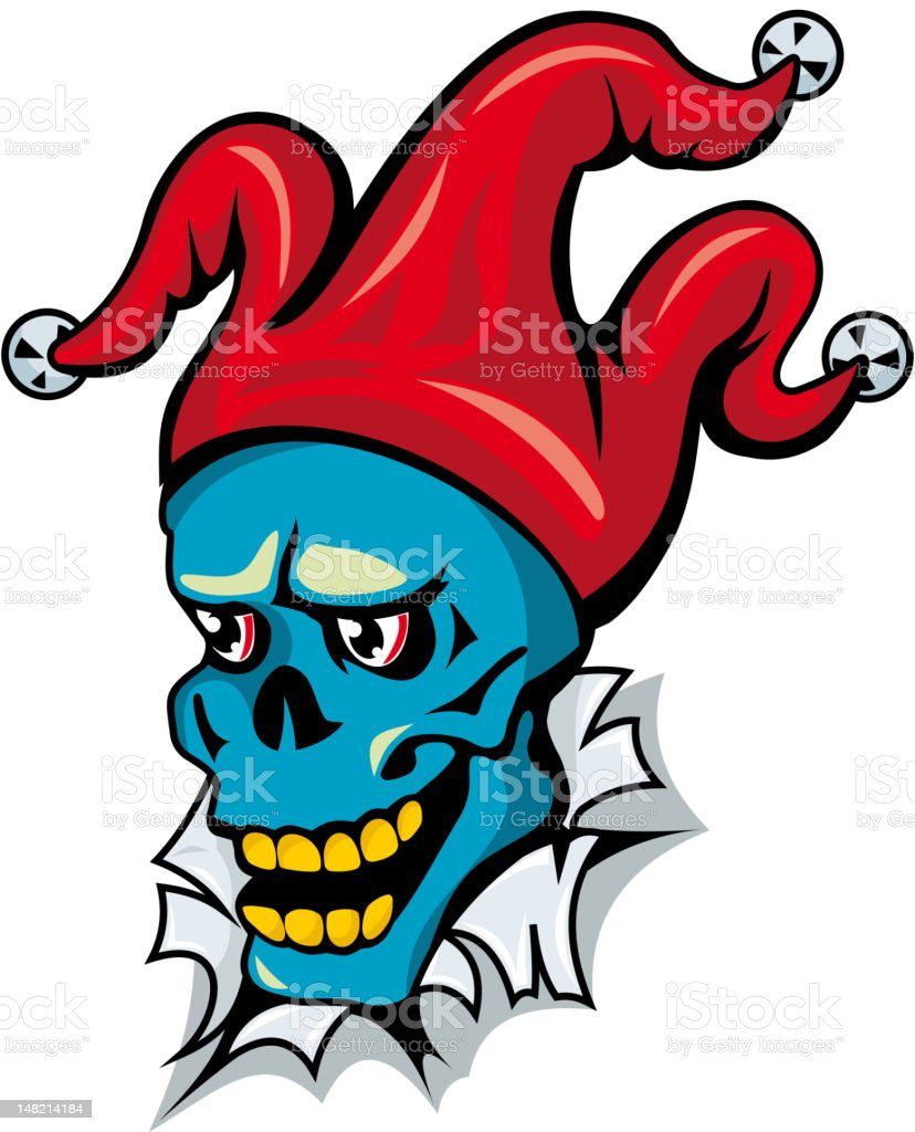 Angry clown on turned paper royalty-free stock vector art
