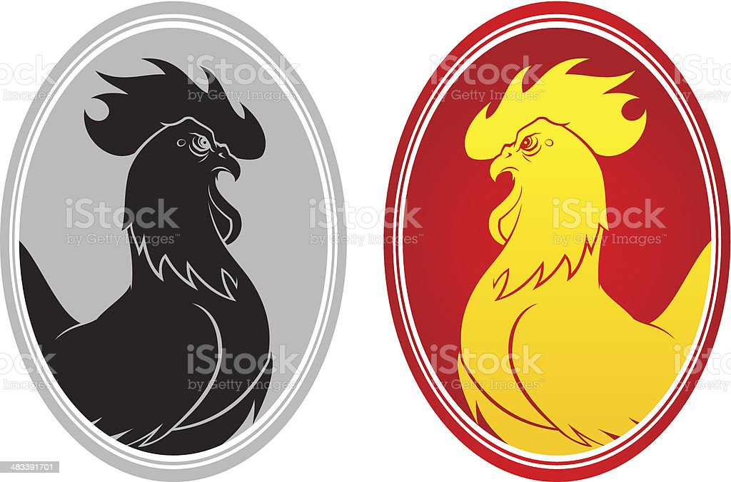 Angry cock emblem vector art illustration