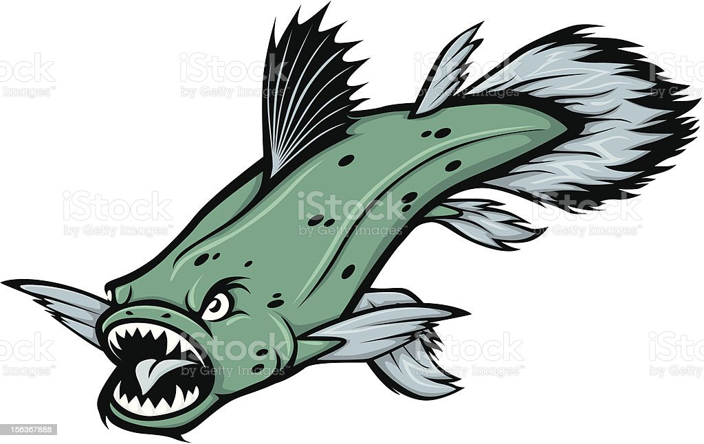 Angry Coelacanth Fish Illustration royalty-free stock vector art