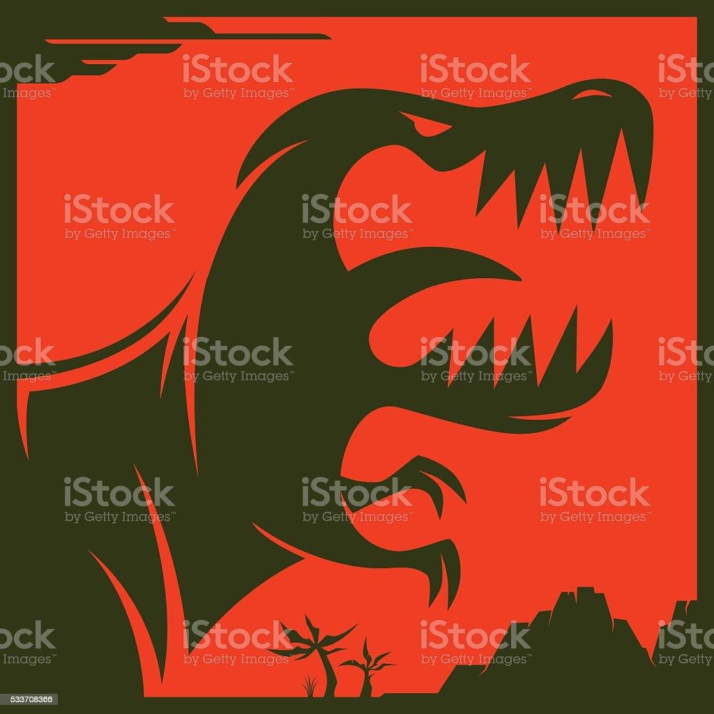 angry dinosaur roaring vector art illustration