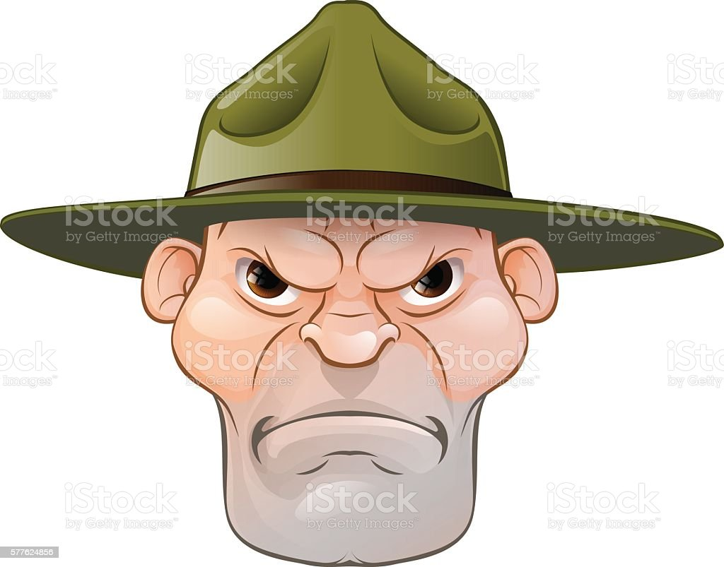Angry Drill Sergeant Cartoon vector art illustration