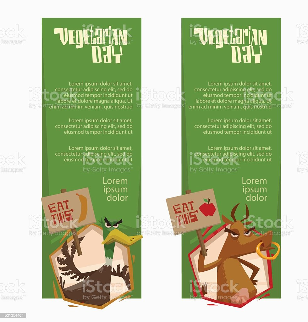 Angry duck and cow vertical green banners vector art illustration