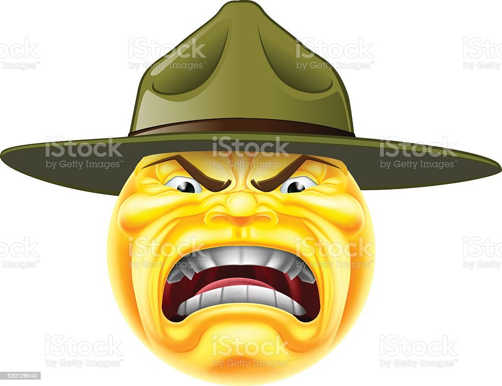 Angry Emoji Emoticon Drill Sergeant vector art illustration