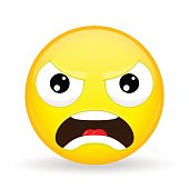 Angry emoji. Emotion of anger. Evil emoticon.