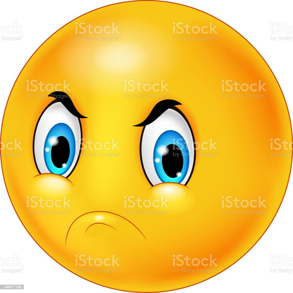 Angry emoticon cartoon vector art illustration