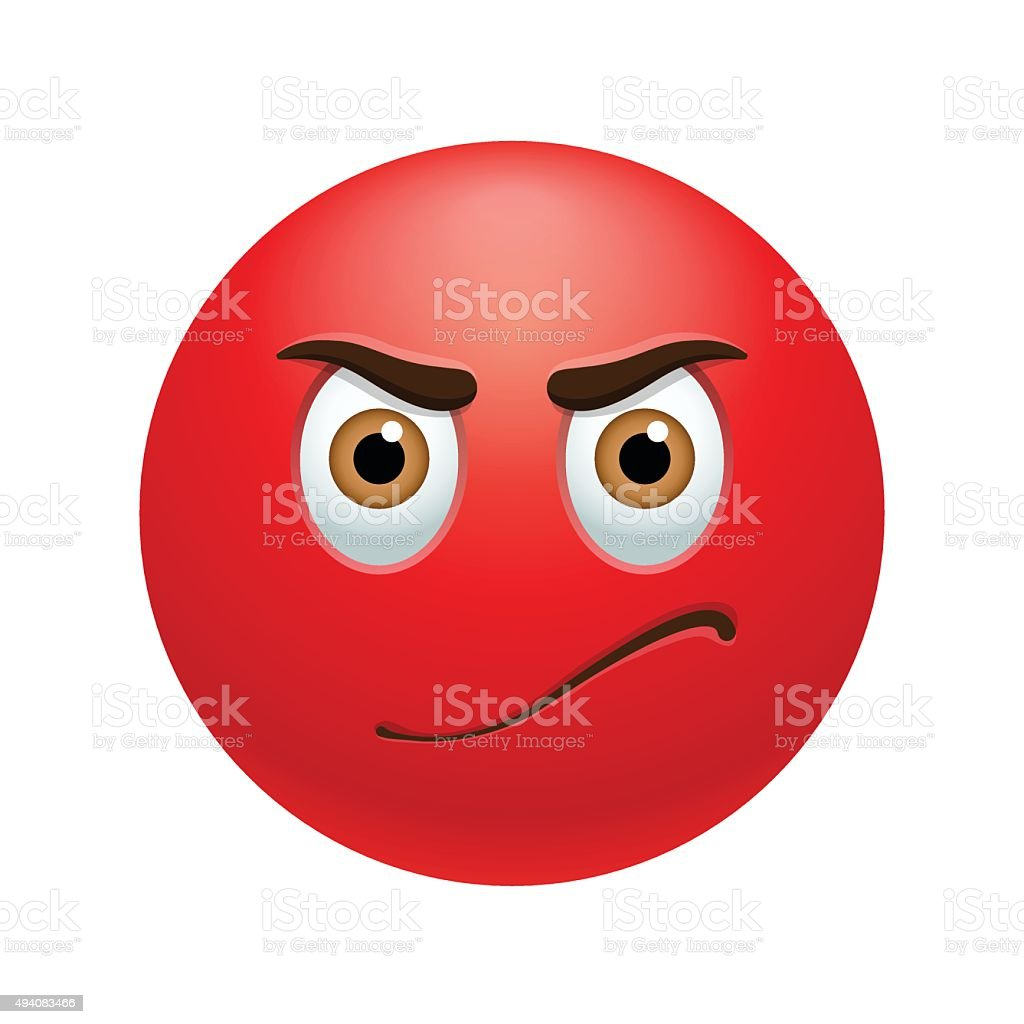 Angry emoticon vector art illustration