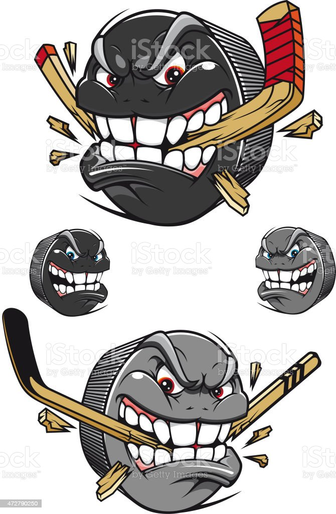 Angry evil hockey puck chomping a stick vector art illustration