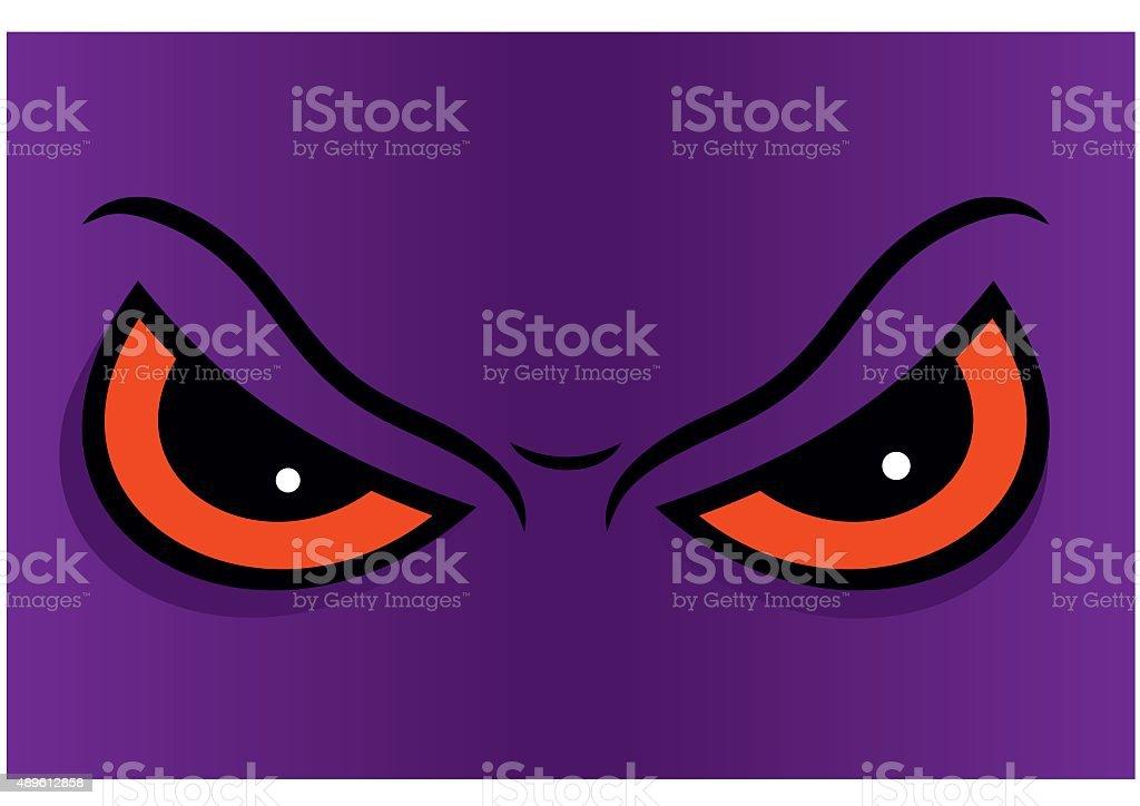 Angry eyes in cartoon. Vector illustration. vector art illustration
