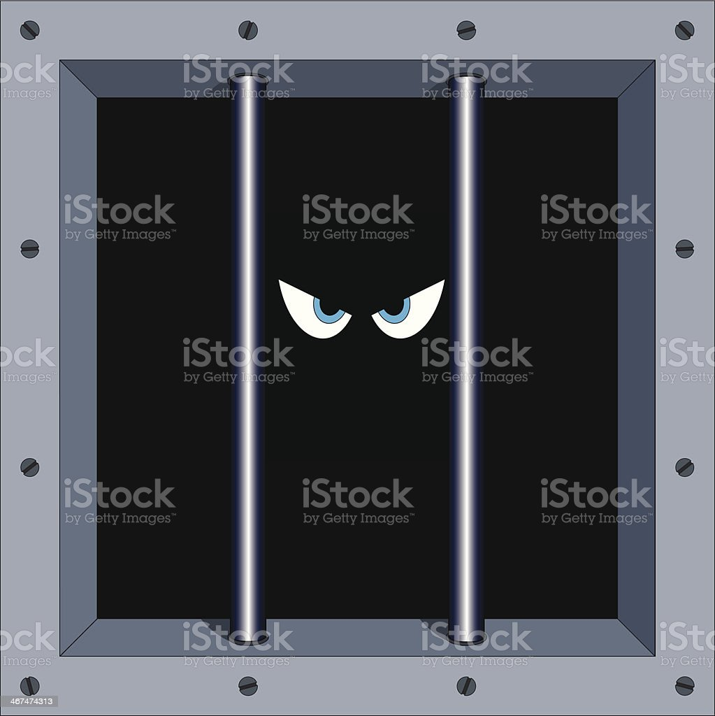 Angry eyes of a prisoner peering from behind bars vector art illustration