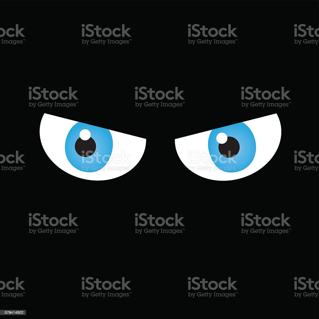 Angry eyes on dark background. vector art illustration