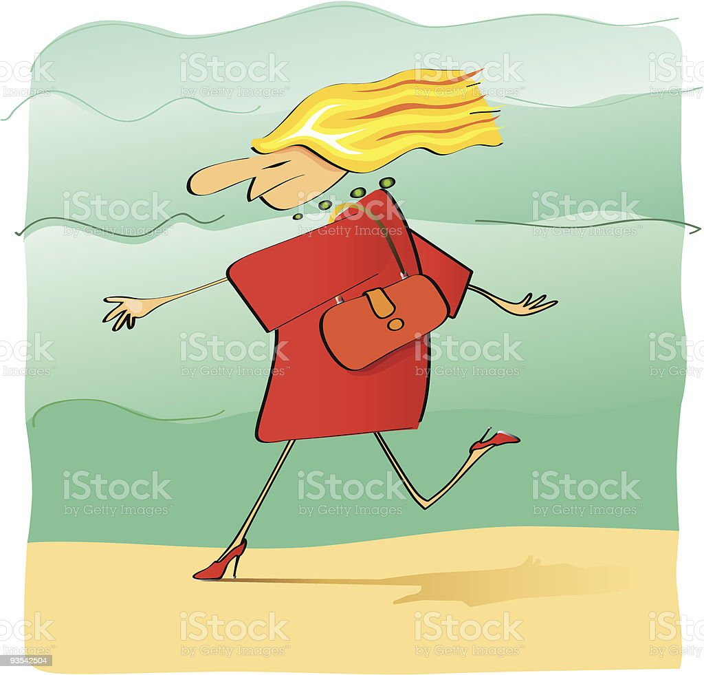 Angry fashionable woman running royalty-free stock vector art