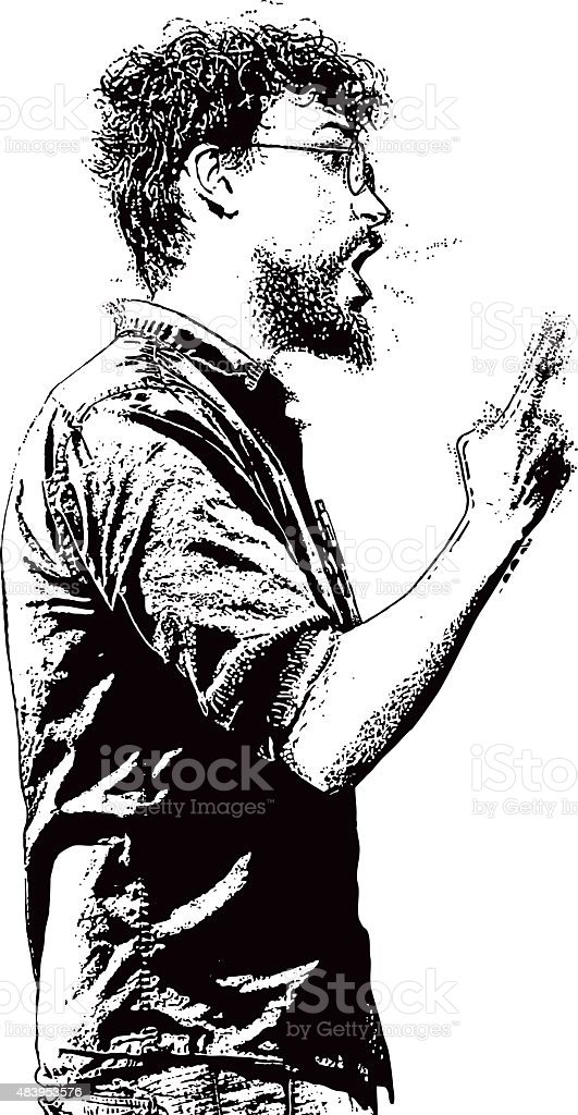 Angry, Frustrated Man Yelling vector art illustration
