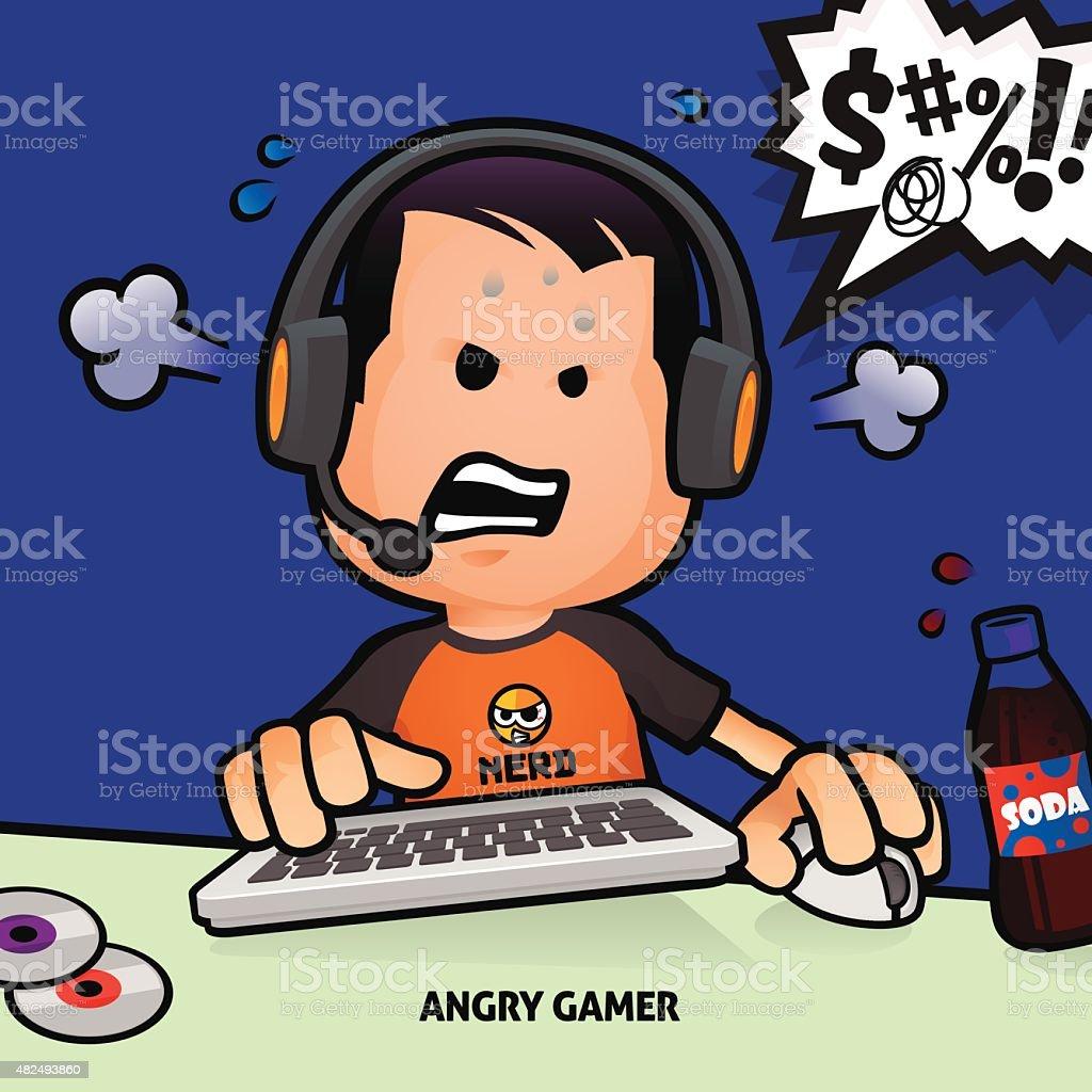 Angry Gamer vector art illustration