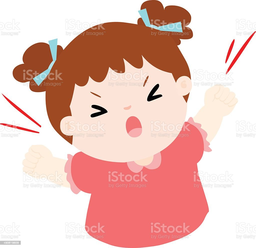 angry girl shout loudly on white background vector illustration vector art illustration
