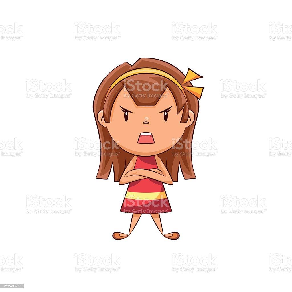 Angry girl vector art illustration