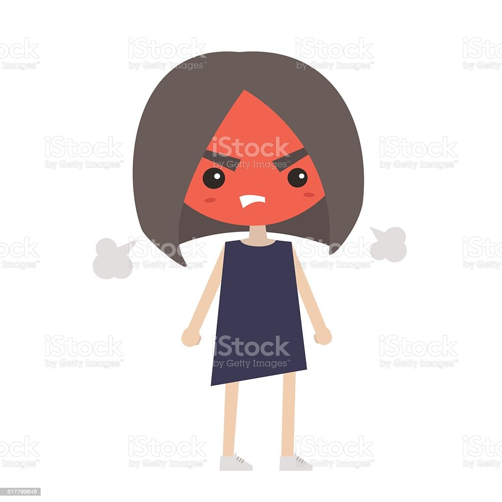 Angry girl with red face blows steam vector art illustration