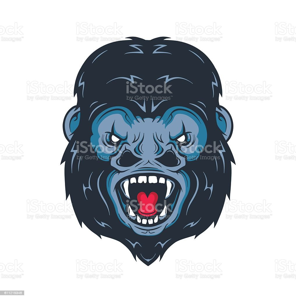Angry gorilla head vector illustration. Isolated on white background vector art illustration