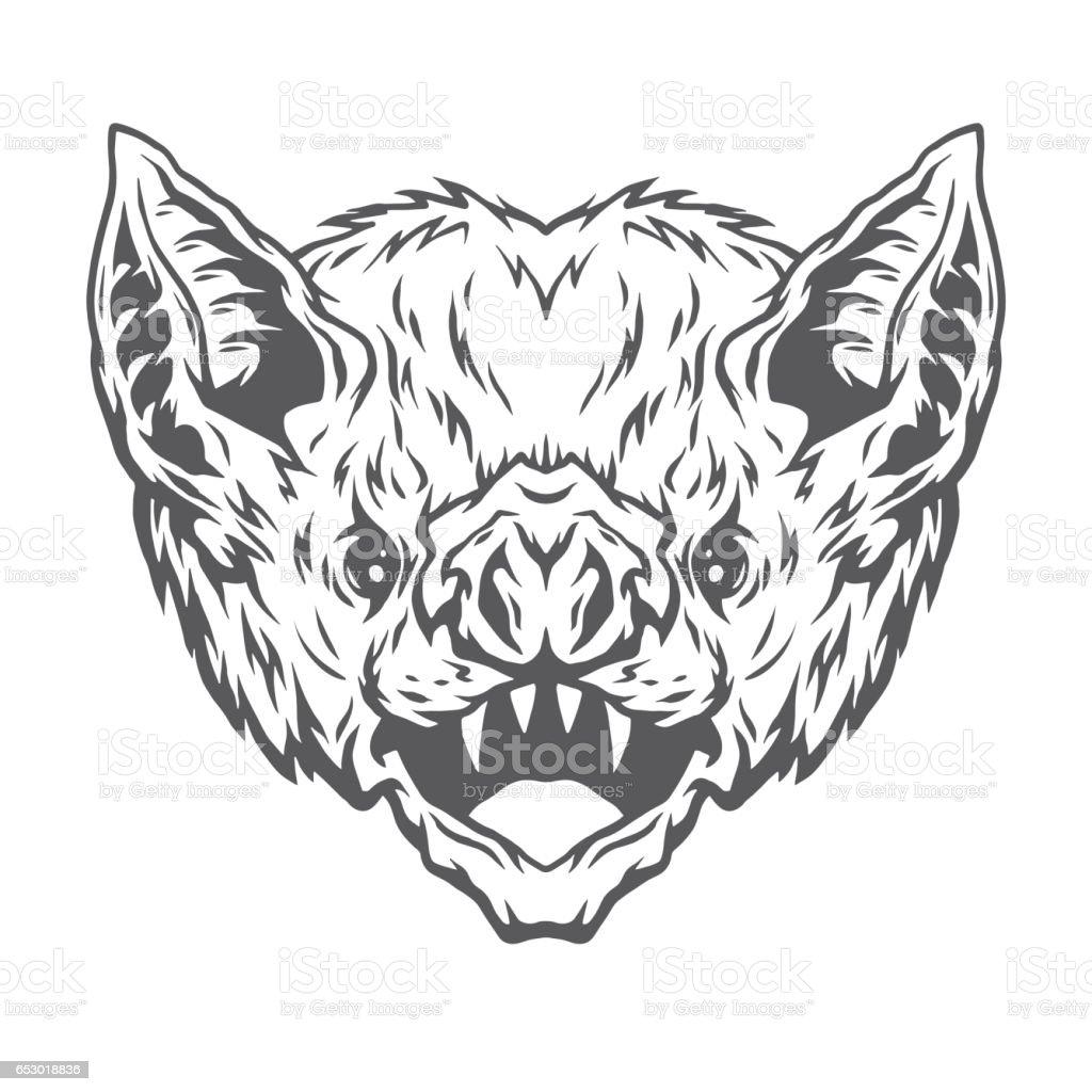 Angry head vampire bat. vector art illustration