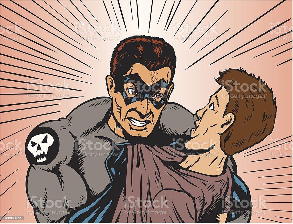 Angry hero vector art illustration