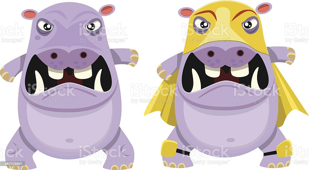 Angry Hippo with or without Wrestling Gear royalty-free stock vector art