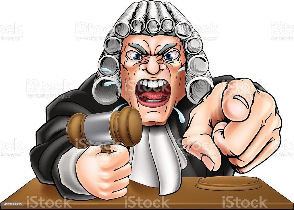 Angry Judge Cartoon vector art illustration