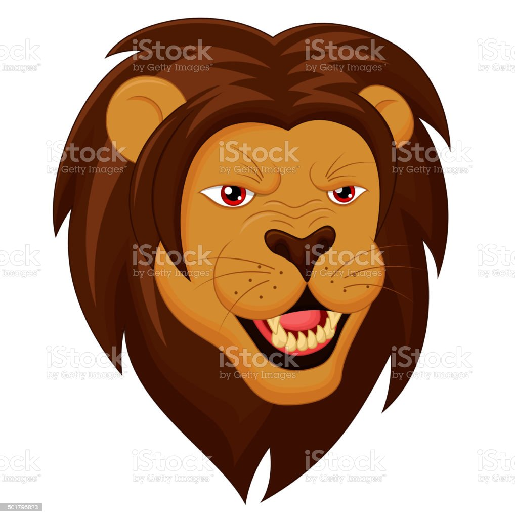 Angry Lion Head Cartoon vector art illustration